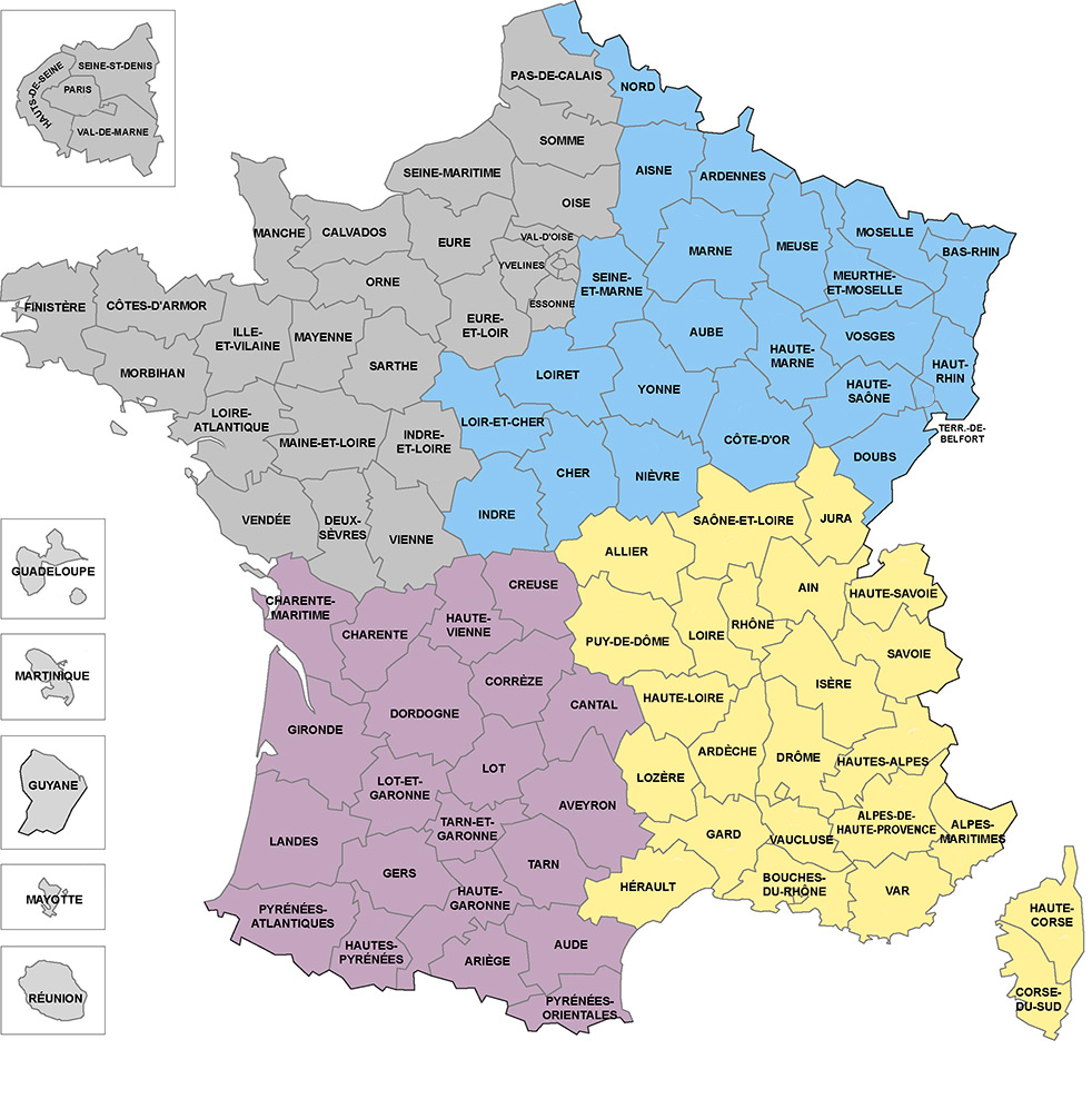 Implantation de bergeret jeannet sur la carte de france